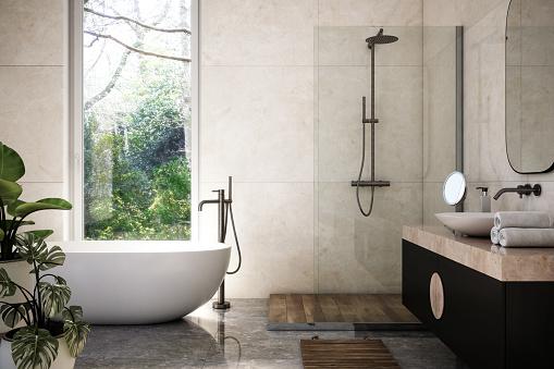 Modern Bathroom Interior stock photo - 3d render