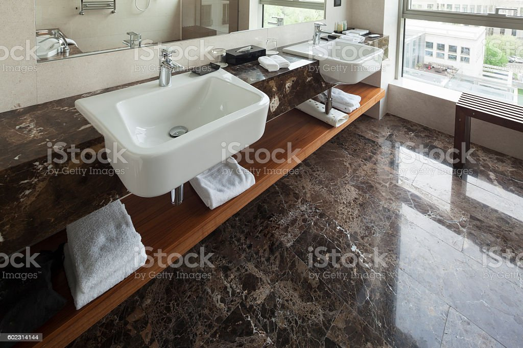 Modern bathroom interior with double sink and view – Foto