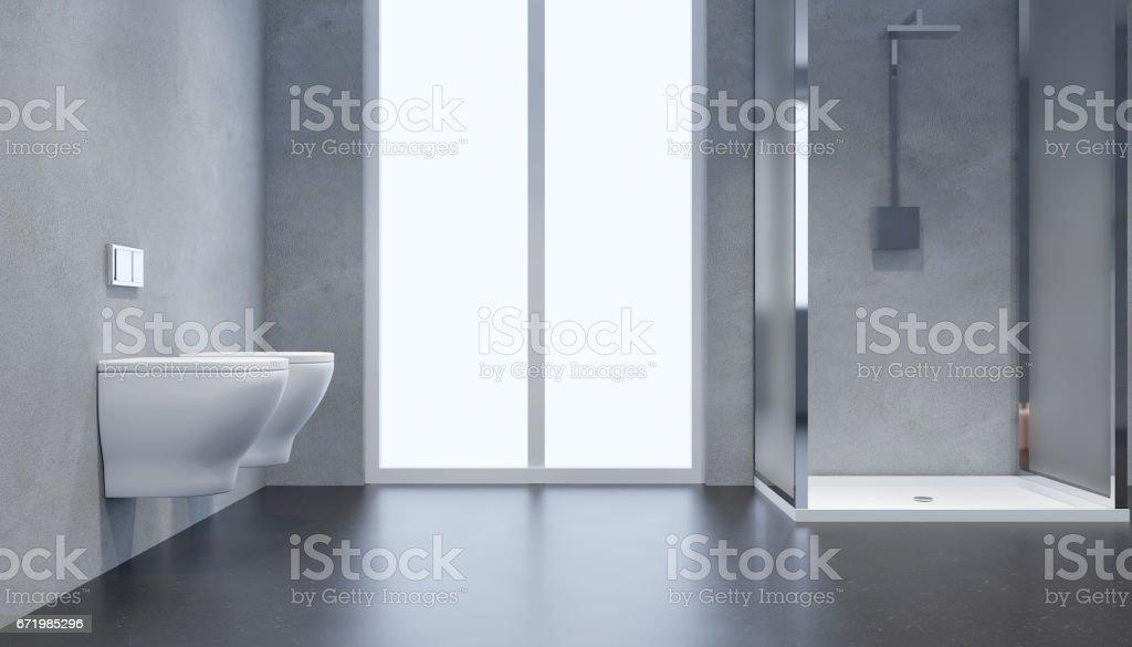 Modernes Badezimmer Interieur Mit Glas Tür Dusche 3drendering ...