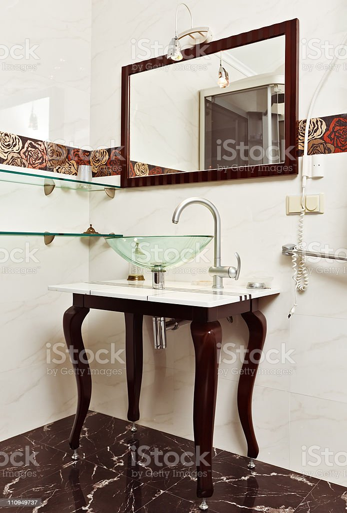Modern Bathroom Interior With Glass Sink Bowl And Mirror Stock Photo Download Image Now Istock