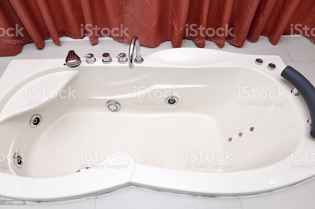 Modern bathroom interior with Jacuzzi bath stock photo