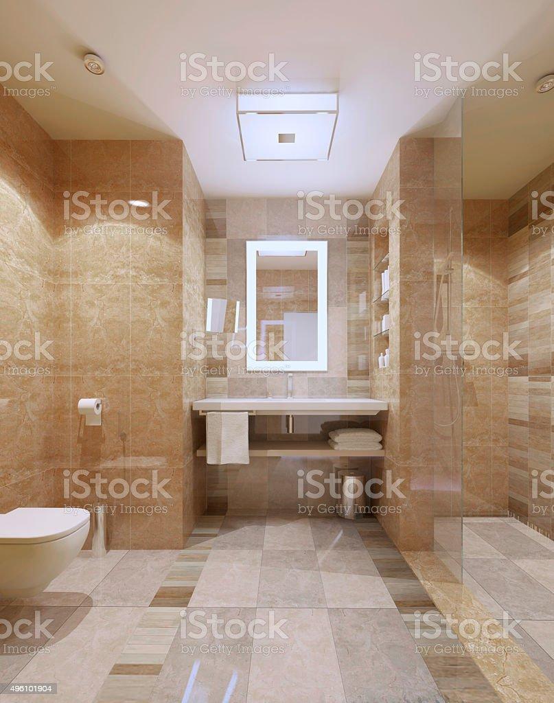 Modernes Badezimmer Interieur Mit Marmor Fliesen Stockfoto und mehr Bilder  von 11