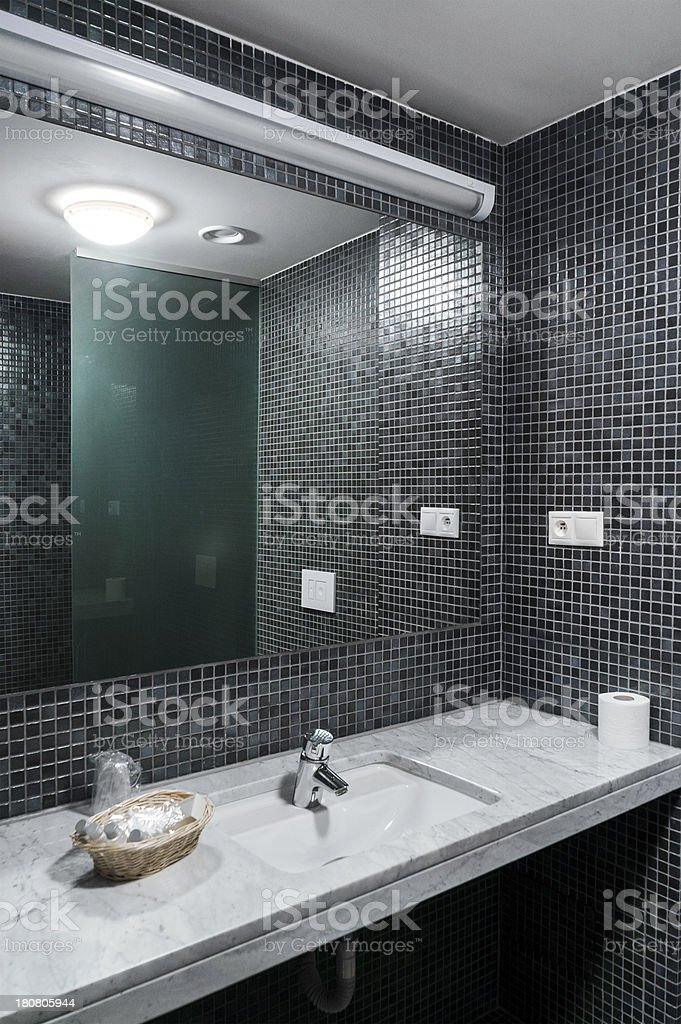Modern Bathroom Interior With Mosaic Tiles Wall In Gray Stock Photo Download Image Now