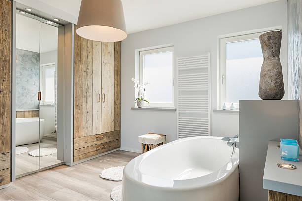 Modern bathroom interior with seperate bath stock photo