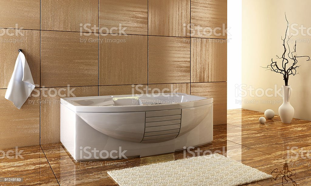 Modern bathroom photo, with polished surfaces stock photo