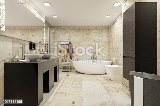 Picture of modern bathroom. Render image.