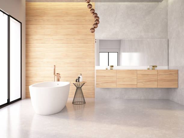 Modern Bathroom Bathtub in the modern interior domestic bathroom stock pictures, royalty-free photos & images