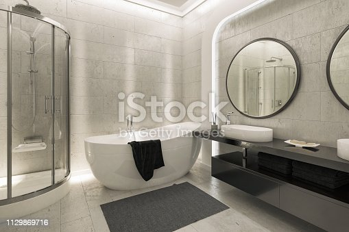 Picture of modern Bathroom. Render image.