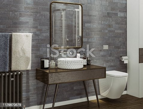 Picture of a modern bathroom. Render image.