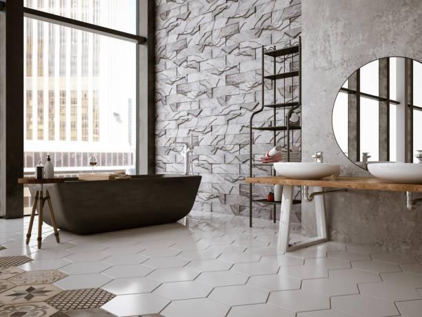 banheiro moderno - banheiro instalação doméstica - fotografias e filmes do acervo