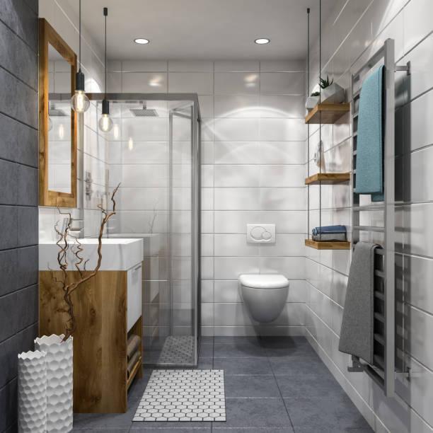 banheiro moderno - banheiro estrutura construída - fotografias e filmes do acervo