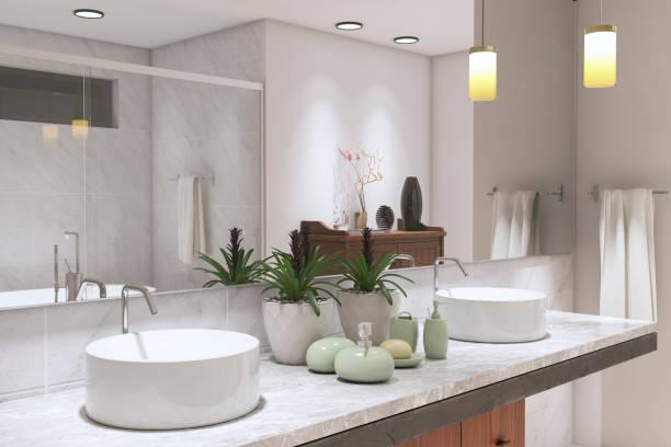Modern Bathroom Modern Bathroom ( 3d render ) bathroom stock pictures, royalty-free photos & images