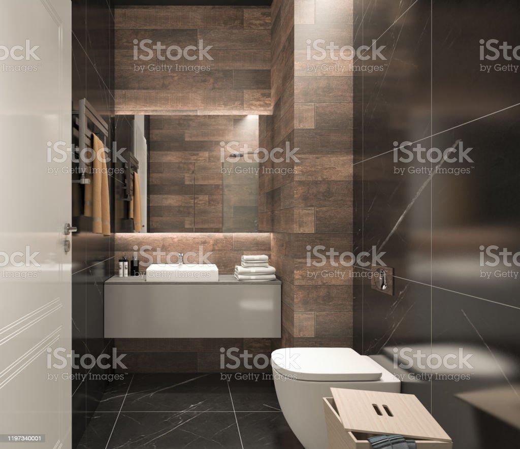 Modern Bathroom Render of Modern Bathroom Apartment Stock Photo