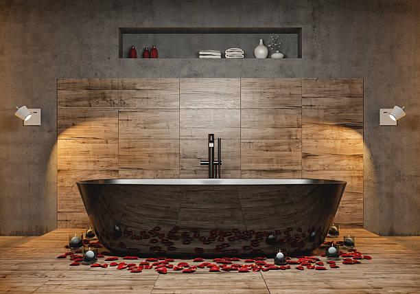 modernes badezimmer - badewanne holz stock-fotos und bilder