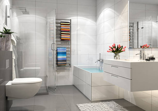 modern bathroom - nelleg stock photos and pictures