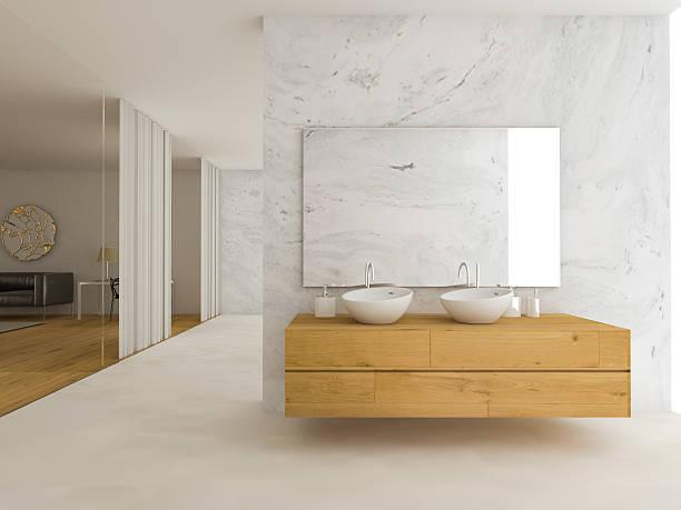 modernes badezimmer  - badezimmermöbel holz stock-fotos und bilder