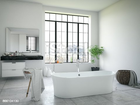 Bathtub in the modern interior