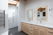Modern minimal, bathroom with skylight
