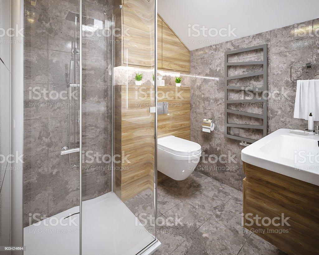 Procesamiento Moderno Cuarto De Baño Foto de stock y más banco de ...