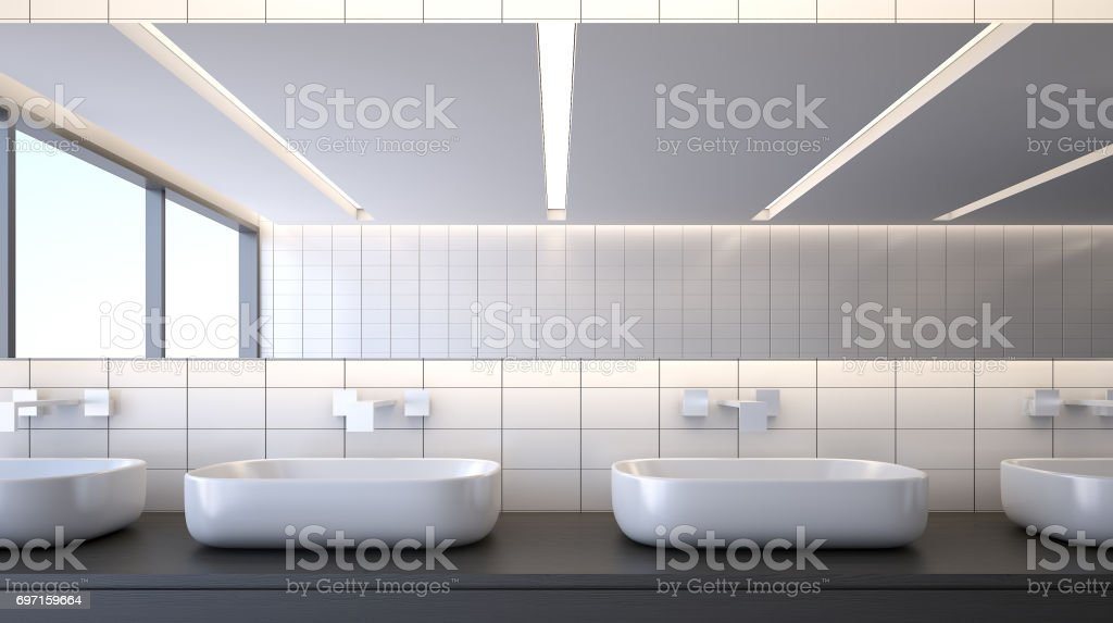 Modern bathroom with basins , 3d rendering stock photo