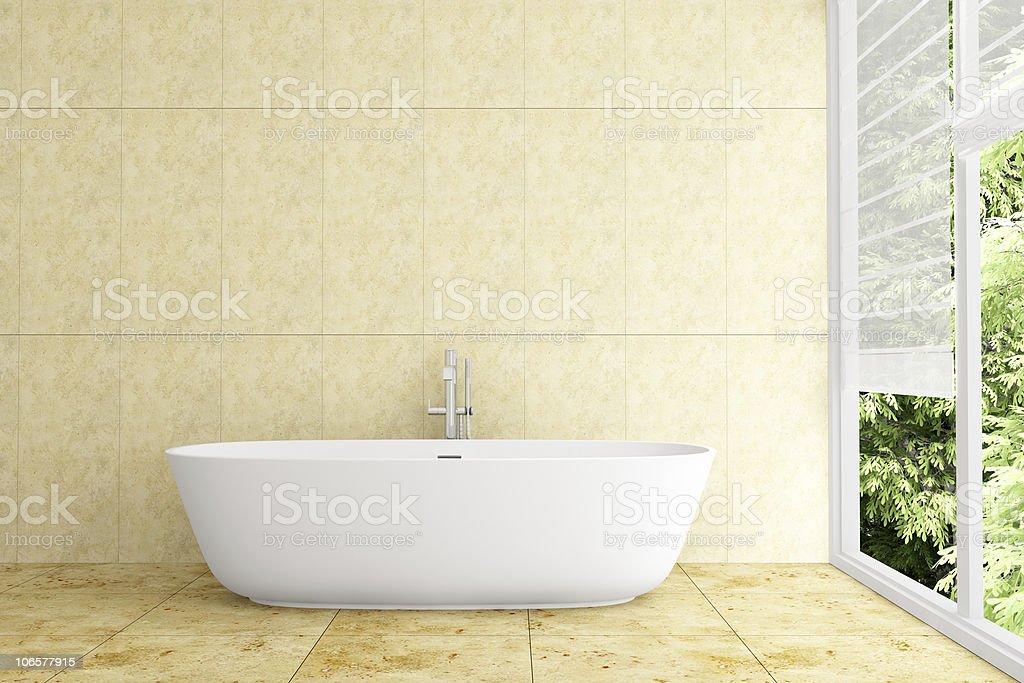 Moderne Badezimmer Mit Beigefliesen An Der Wand Und Boden ...