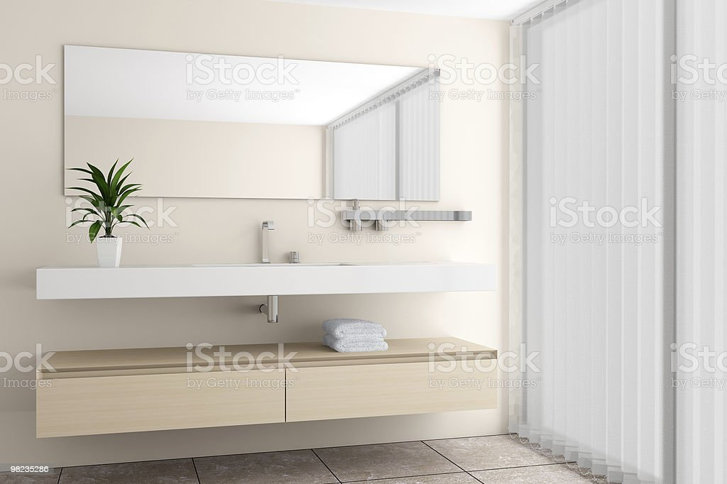 modern bathroom with beige wall royalty-free stock photo