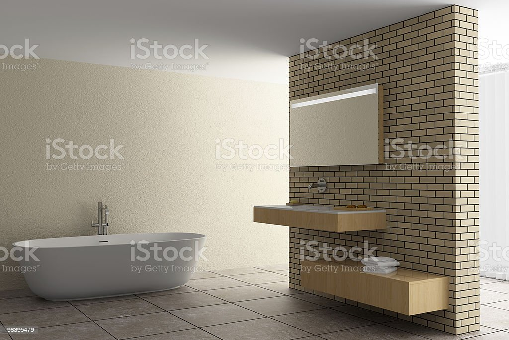 modern bathroom with brick wall royalty-free stock photo
