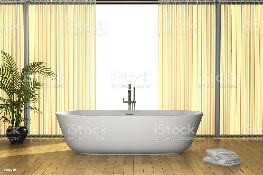 modern bathroom with brown floor royalty-free stock photo