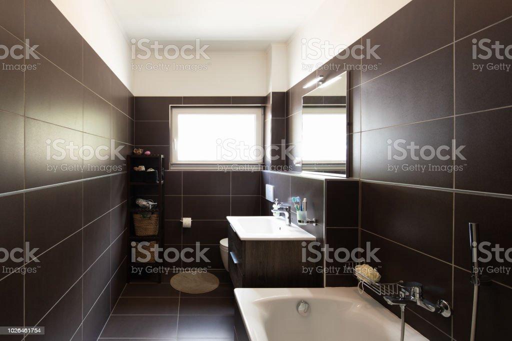 Modernes Badezimmer Mit Braunen Fliesen Und Fenster ...