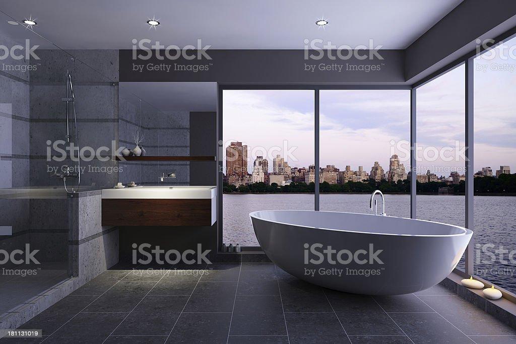 Modern Bathroom with City Skyline stock photo