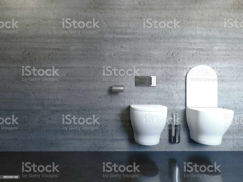modern bathroom with concrete wall. 3D rendering stock photo