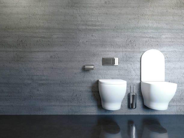 moderna casa de banho com uma parede de concreto. Renderização 3D - foto de acervo