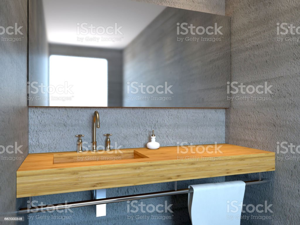Modernes bad mit betonmauer drendering stockfoto und mehr bilder