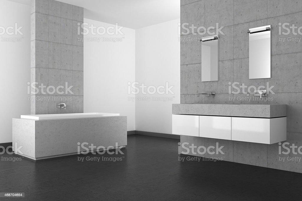 Bagno moderno con pavimento e parete di cemento scuro fotografie