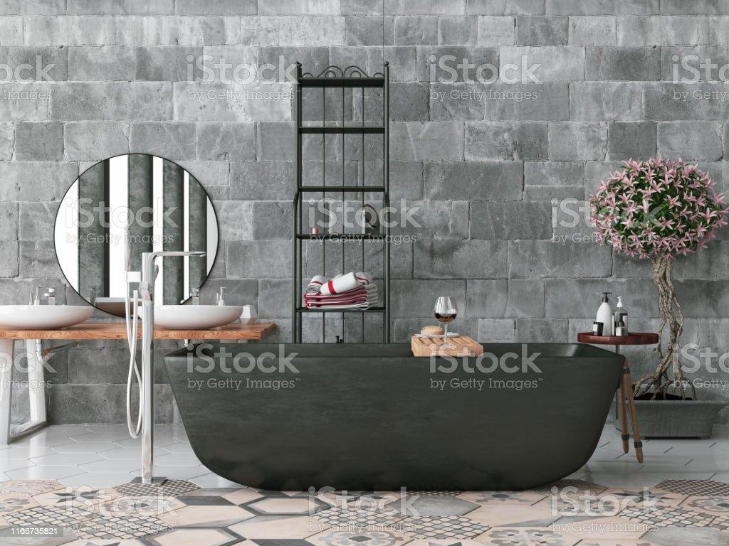 Modernes Badezimmer Mit Betonwand Stockfoto und mehr Bilder von ...