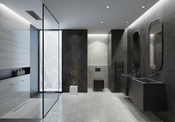 Modern bathroom with dark gray concrete tiles Contemporary bathroom with light gray honeycomb ceramic tiles and dark gray concrete like large tiles. Walls with trendy concrete like light gray large ceramic tiles. Floor with dominating light gray honeycomb ceramic tiles.  Two gray stone washbasins with two wall-mounted black stainless steel bathroom sink faucets, black storage cabinet with drawers between. Two rectangular wall mirrors with gray metal frames.  Walk-in shower with light gray long narrow ceramic tiles, glass wall and luxury ceiling mounted shower head. Separated black rectangular toilet mounted to a wall with honeycomb wall ceramic tiles. Ceiling with strip cove lighting and embedded spotlights.  **background is my istock image domestic bathroom stock pictures, royalty-free photos & images