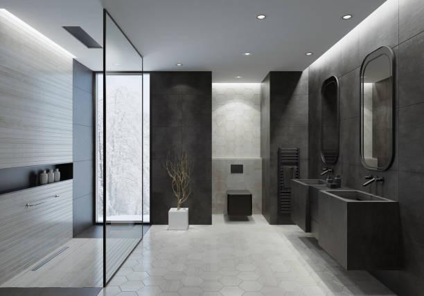 현대적인 욕실이 어두운 회색 콘크리트 타일 - 욕실 뉴스 사진 이미지