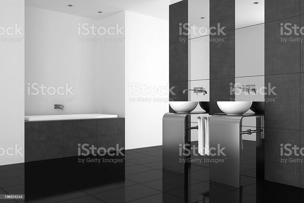 Photo libre de droit de Salle De Bains Moderne Avec Double Vasque Et Noir  Étage banque d\'images et plus d\'images libres de droit de {top keyword}