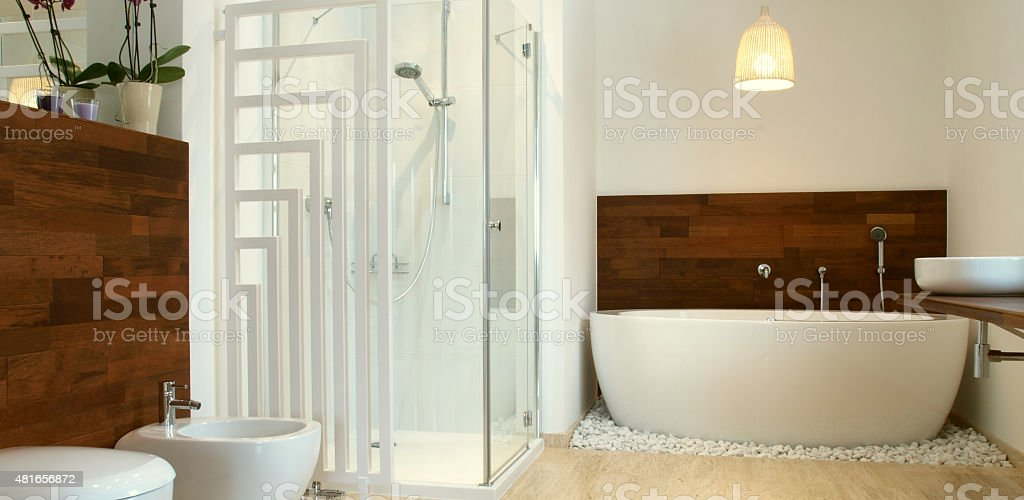 Moderne Badezimmer Mit Exotischem Holz Stockfoto Istock