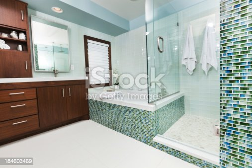 istock Modern bathroom with glass shower 184603469