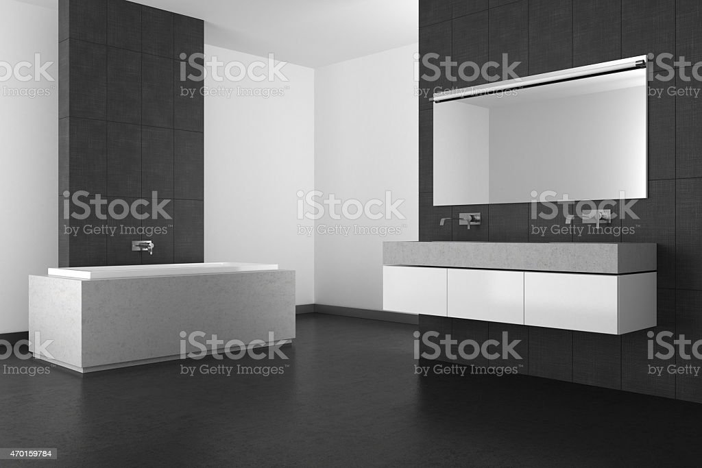 Pavimento Grigio Moderno : Moderno bagno con piastrelle di pavimento e grigio scuro