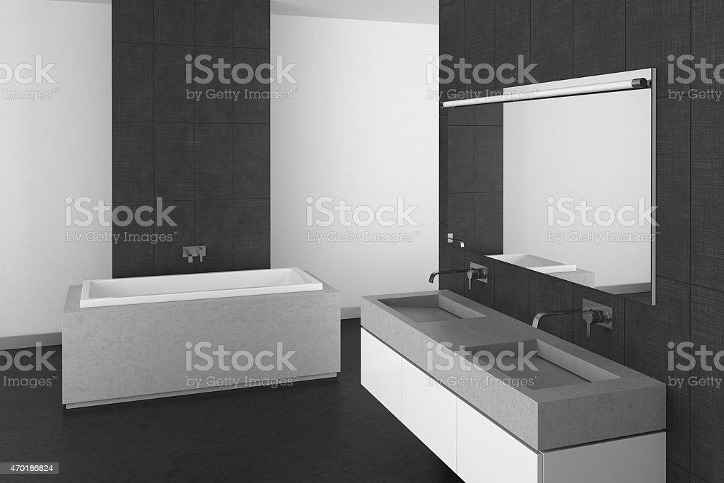 Moderno bagno con piastrelle di pavimento e grigio scuro
