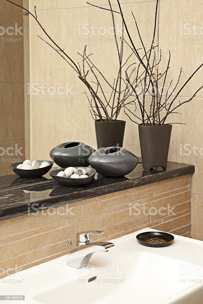 A modern bathroom with grey accessories royalty-free stock photo
