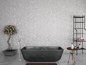 Modern Bathroom with Honeycomb Wall