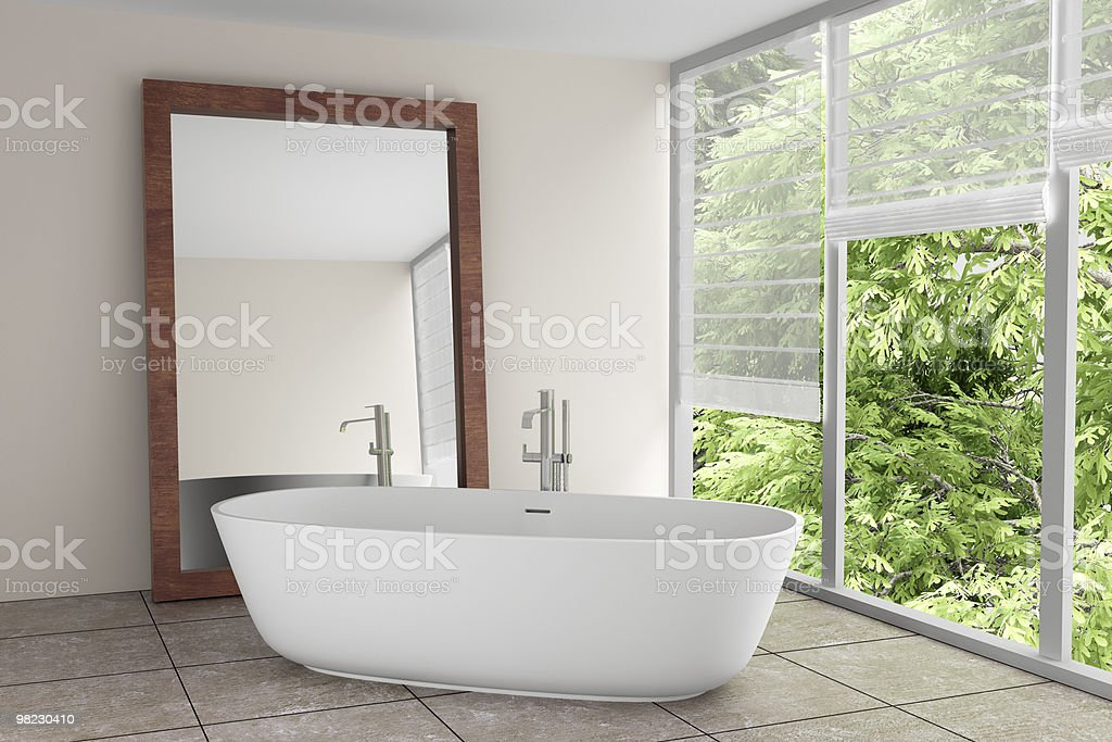 modern bathroom with large mirror royalty-free stock photo