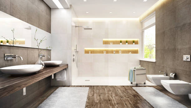 banheiro moderno com grande chuveiro - banheiro doméstico - fotografias e filmes do acervo