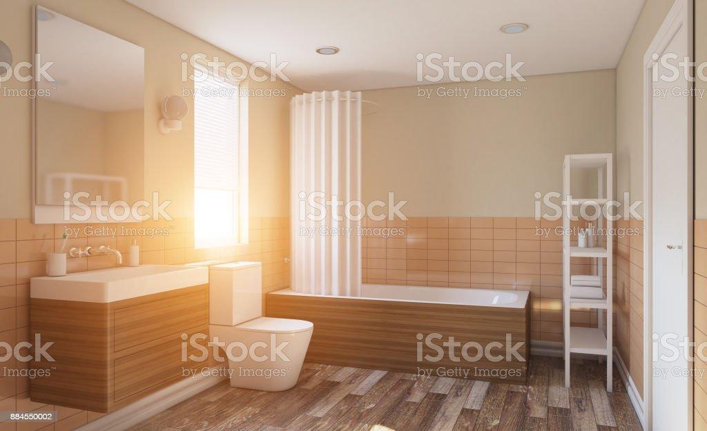 Fotografía de Moderno Cuarto De Baño Con Gran Ventana Renderizado 3d ...