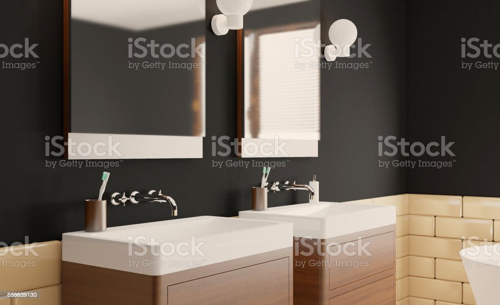 . Modern Bathroom With Large Window 3d Rendering Stock Photo