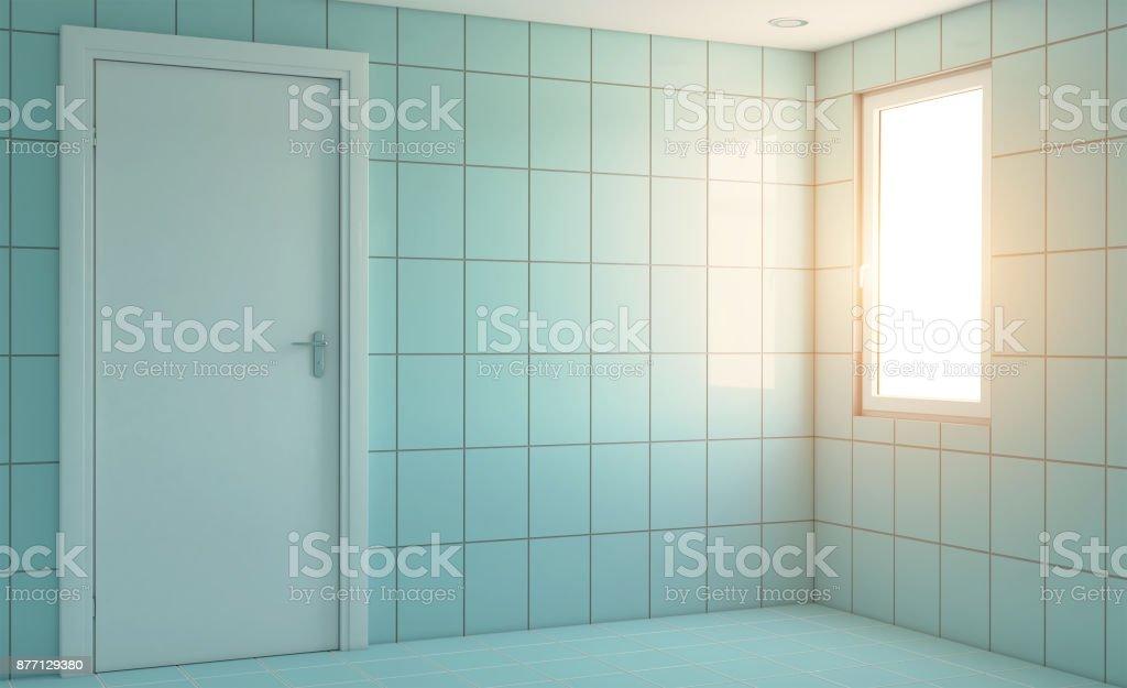 Modernes Badezimmer Mit Großem Fenster 3drendering ...