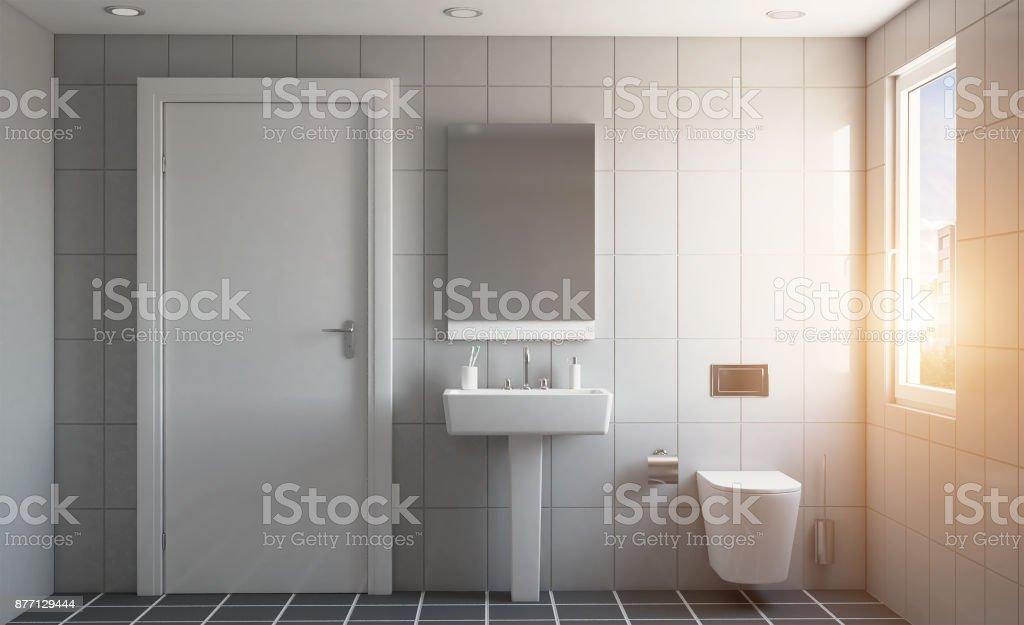 Modernes Badezimmer Mit Großem Fenster 3drendering Sonnenuntergang  Stockfoto und mehr Bilder von Badewanne